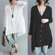 ZANZEA 10-24 Women Button Down Shirt Blouse Tee Long Sleeve Plus Size Tunic Top
