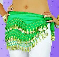 Lot Belly Dance Hip 3 Rows Queen One size Scarf Wrap Belt Hip scarf Hijab Coins