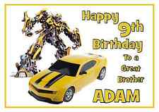 transformers bumblebee personalised A5 birthday card son brother grandson name