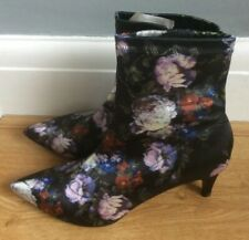 Ladies Fabric Ankle Boots by M&S Insolia Black Mix Size 8 NWT (RRP £35)