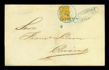 VENEZUELA 1861 Coat of Arms ½r olive yellow Sc#4b on cvr f/ La Guaira to Caracas