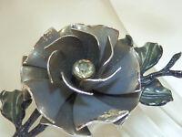 Large & Pretty Vintage 1950s Rhinestone Enamel Flower Brooch  162M4