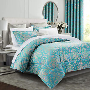 3Piece Jacquard Quilted Bedspread Bed Throw OR Fully Lined Ring Top Curtain Pair