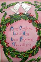 Vintage Christmas Postcard Series 243 Embossed Wreath Bells Barton Spooner 1912