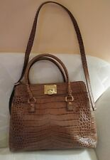 MICHAEL KORS 'ASTRID' Large Tan Satchel Tote  Crocodile Embossed EUC RET $448