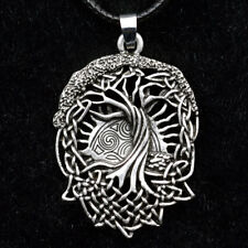 Men's Vintage Norse Viking Tree of Life Pendant Knot Amulet Necklace Jewelry