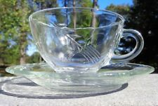 Sheaves of Wheat Pattern Clear GLASS TEACUP & SAUCER SET  Hocking Fire King VTG