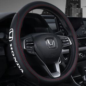 "15"" Car Steering Wheel Cover Genuine Leather For Honda"