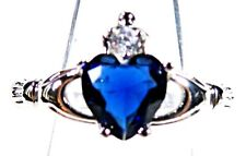 Silver 925 SF Size 12 Claddagh Ring 7mm Blue Sapphire Heart & 2mm White Topaz