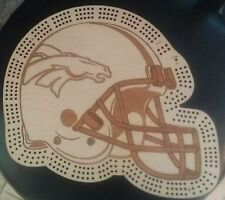 Denver Broncos Football Helmet Three Track Cribbage Board