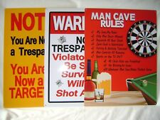 NEW SET OF 3 METAL PLAQUE NOVELTY BEDROOM SIGNS WARNING TRESPASSING MAN CAVE PMS