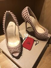 BNIB & Authentic Christian Louboutin Lady Peep Spikes 150 Patent Shoes Size 38.5