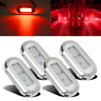 4pcs Red LED Courtesy Light Mount Yacht Marine Boat Cabin Deck Lamp Waterproof