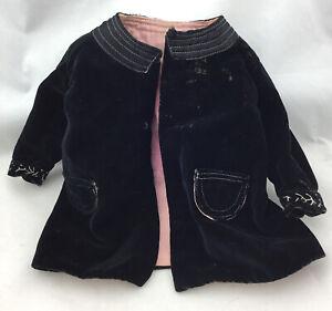 Antique Black Crushed Velvet Doll Coat Bisque Composition Doll Hand Made