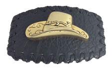 Buckle Cowboy & Western Golden Hat Leather Metal Belt