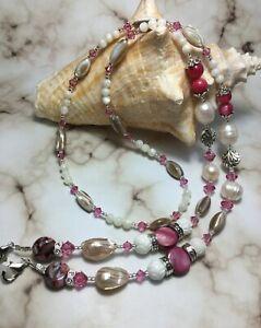 Handmade Mother Of Pearl Shell Swarovski Crystal Element Eyeglass Chain USA