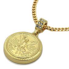 "Mens 14K Gold Plated Round Money Pendant Hip-Hop 3mm 27"" Cuban Chain Fashion"