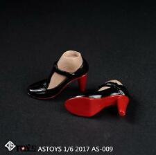 Female Black Leather Shoes High Heels 1/6 Scale Action Figure Toy Model