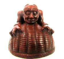 Y3302 - 4.6*5.5 *4.6Cm Hand carved Boxwood Carving Netsuke: 2 Oni Monsters