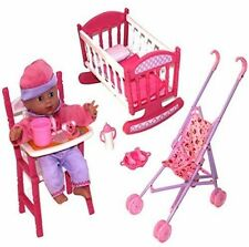 Baby Doll Set Pretend Role Play Cradle Cot Bed Crib High Push Chair Pram Kid Toy