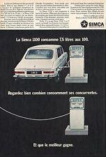 Publicité Automobile Simca 1100  Pompe à essence car photo vintage ad  1968 - 8h