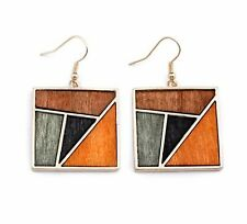 New Euro Geometric Square Contrast Color Wood Earrings For Women/ Girl