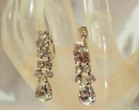 Vintage 50's Dangle Ice Rhinestone Deco Tear Prong Screw Back Earrings 863JL9