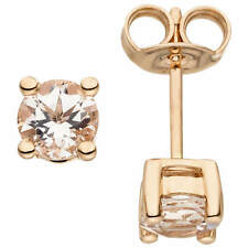 Studs Solitaire Earrings with Pink Morganite, 585 Gold Rose Gold, Ladies