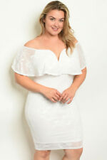 Womens Plus Size Ivory Lace Overlay Cocktail Dress 1X Cold Shoulder Bodycon