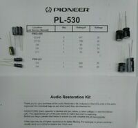 Pioneer PL-530 Turntable Capacitor Restoration Kit - Nichicon