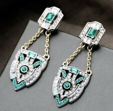 BOXED GIFT Gold Silver ART DECO Emerald Green Long Drop CRYSTAL EARRINGS UK