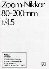 Lente De Cámara Nikon genuino manual de instrucciones Zoom Nikkor 80-200 mm F/4.5 AI