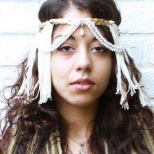 PEARL FRINGED FEATHER FLAPPER HEAD DRESS BAND ELECTRO SWING BELLY DANCE FESTIVAL