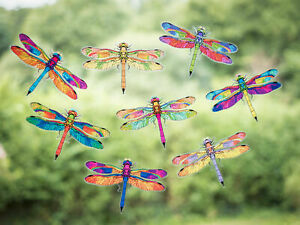 Dragonfly Double-Sided Static Cling Window Stickers - Set of 8 Decorative Decals