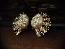 VINTAGE grande perla barocca NERO E TRASPARENTE CRISTALLO Ventaglio orecchini a clip-on