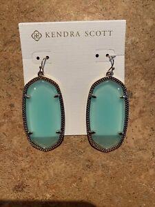 NWT Scott Danielle Drop Earrings In Green Clear Chalcedony With Gold 451