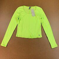 Sweaty Betty Women's Size Large Green Long Sleeve Tadasana Ribbed Yoga Top NWT