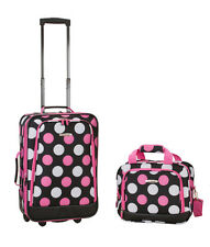 Carry On Luggage 2 Pc Set Pink polk a dot tote bag dorm teen girl overnight case