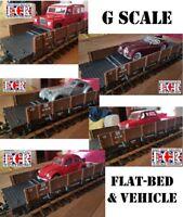 G SCALE FLATBED & 1:24 DIE-CAST VEHICLE VEHICLE RAILWAY 45mm GAUGE TRAIN AS LGB