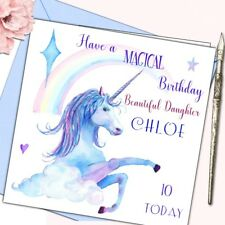 Personalised Birthday Card Girl Unicorn GrandDaughter Niece 5th 6th 7th 8th 9th