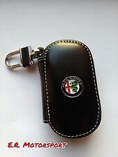 Portachiavi in cuoio NERO contenitivo Alfa Romeo 147 156 159 Giulia Mito Spider