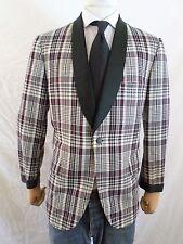 LORD WEST ivory black red Madras plaid drape collar vintage tuxedo jacket 40S