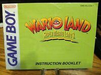 Wario Land Super Mario Land 3 Game Boy Instruction Booklet Only Manual nintendo