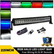 22 inch 120W Curved Off road Led Light Bar w/ RGB Halo 7 color change & Wiring