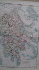 1904  W. & AK JOHNSTON GREECE  GREEK ISLANDS ORIGINAL ANTIQUE MAP