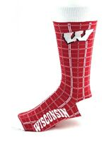 Wisconsin Badgers NCAA Plaid Crew Socks Red