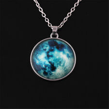 Fashion Glow in The Dark Moon Earth Pattern Round Pendant Necklace Jewelry Gift Blue