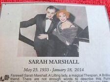 1933-2014 SARAH MARSHALL MINI OBITUARY TONY NOMINATED ACTRESS IN GOODBYE CHARLIE