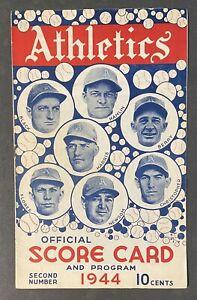 1944 Philadelphia Athletics Vs Boston Red Sox Program Scorecard
