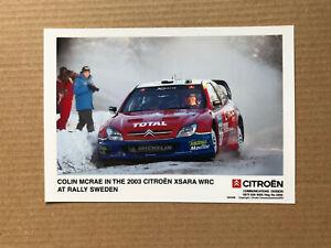 2003 Citroen Xsara WRC Press Photograph - Colin McRae, Rally Sweden